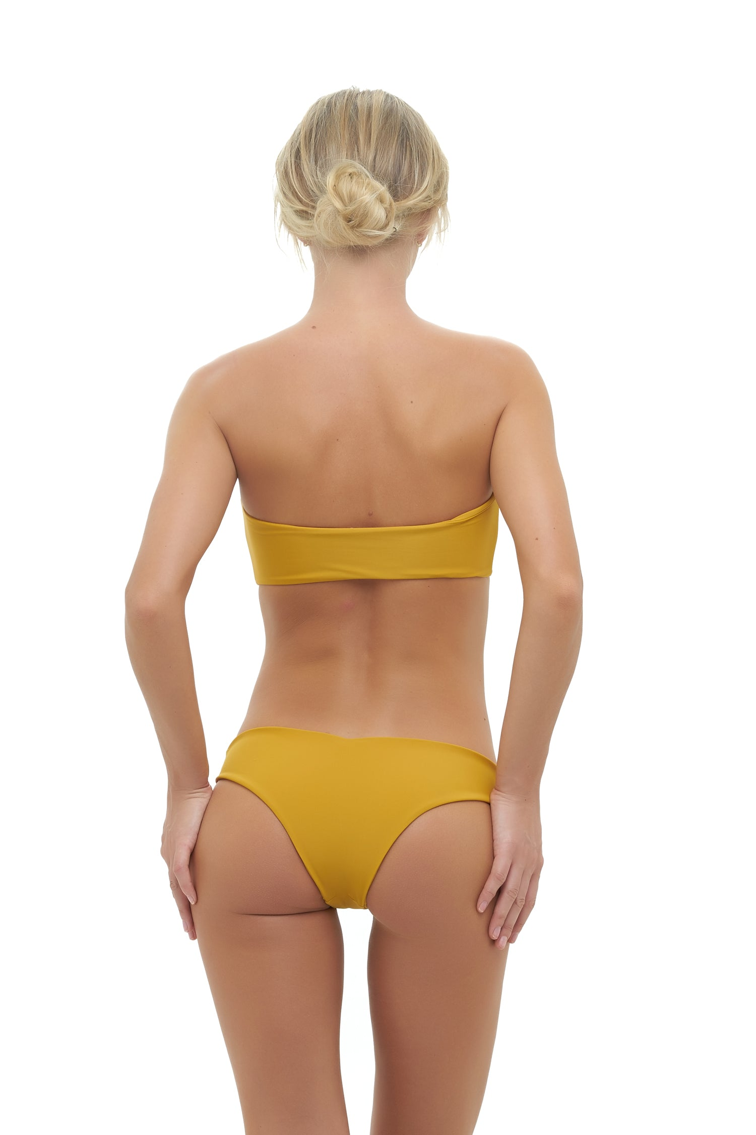 Storm Swimwear - Ravello - Plain Bandeu Bikini Top in Mustard