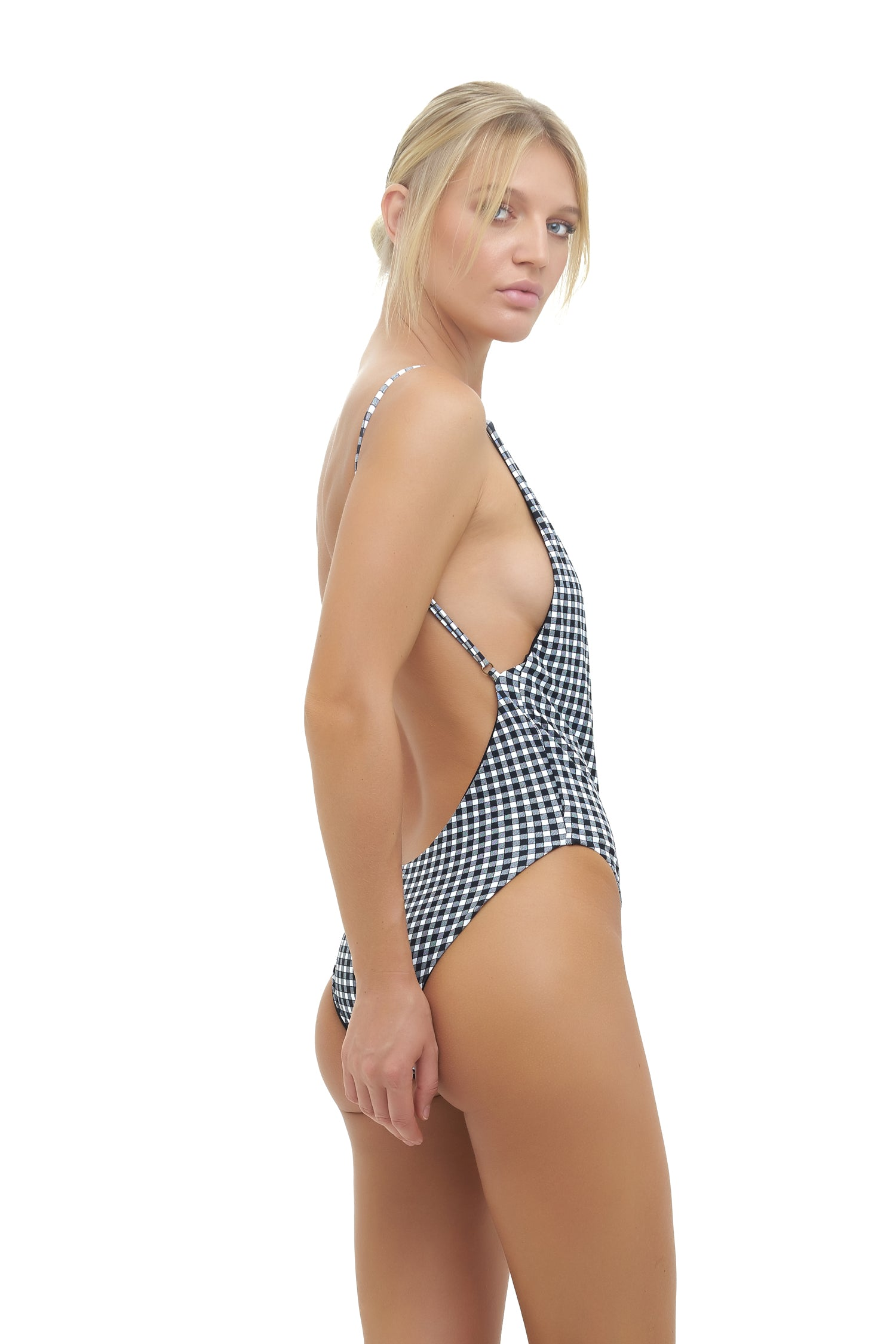 Storm Swimwear - Byron Bay - One Piece Swimsuit in Gingham Black and White Check