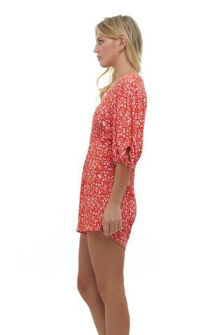 La Confection - Estee - Puff sleeve playsuit in Fleurette Print Red