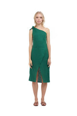 La Confection - Amata - One shoulder midi dress in Palm Green Linen