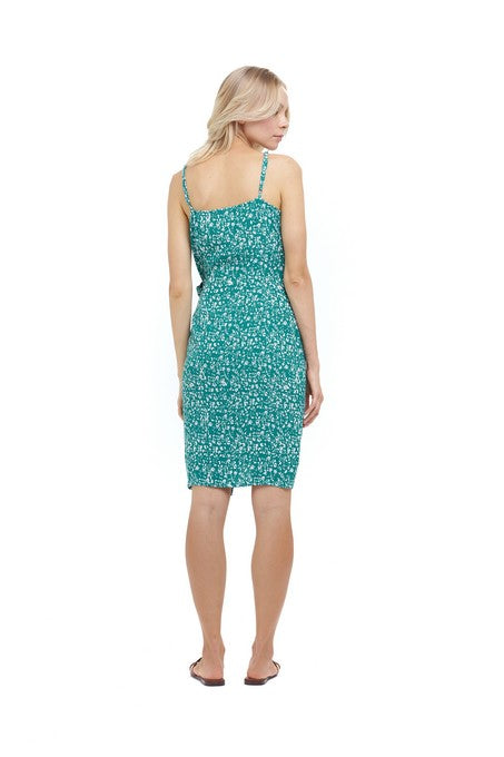 La Confection - Aspen - Midi Dress in Fleurette Print Emereald