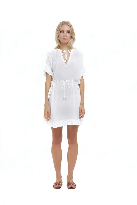 La Confection - Calantha - Ruffle Kaftan Dress in Rayon Krinkle White