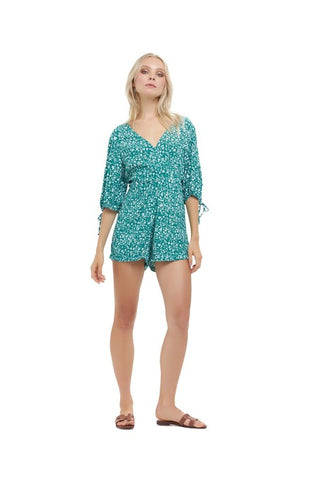 La Confection - Estee - Puff sleeve playsuit in Fleurette Print Emereald