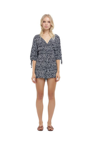 La Confection - Estee - Puff sleeve playsuit in Fleurette Print Black