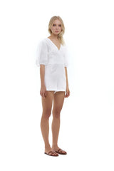 La Confection - Estee - Puff sleeve playsuit in White Linen