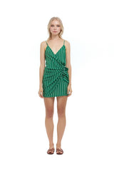 La Confection - Aspen - Micro Mini Dress in Ravello Stripe Palm Green & Cream