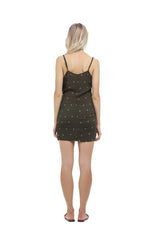 La Confection - Aspen - Micro Mini Dress in Abeille Print Khaki