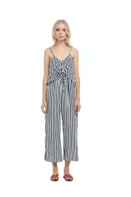 La Confection - Marianne - Pant Jumpsuit in Halette Stripe in Black and White