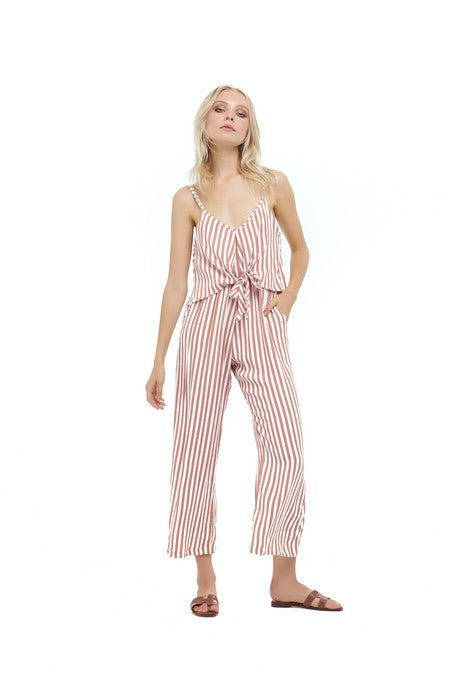 La Confection - Marianne - Pant Jumpsuit in Halette stripe in Coppertan and White