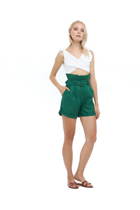 La Confection - Tailefer - Short in Palm Green Linen