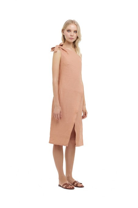 La Confection - Amata - One shoulder midi dress in Coppertan Linen