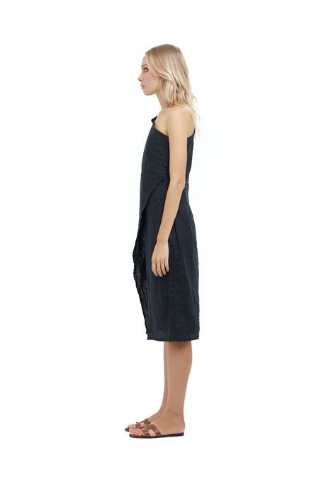 La Confection - Amata - One shoulder midi dress in Black Linen
