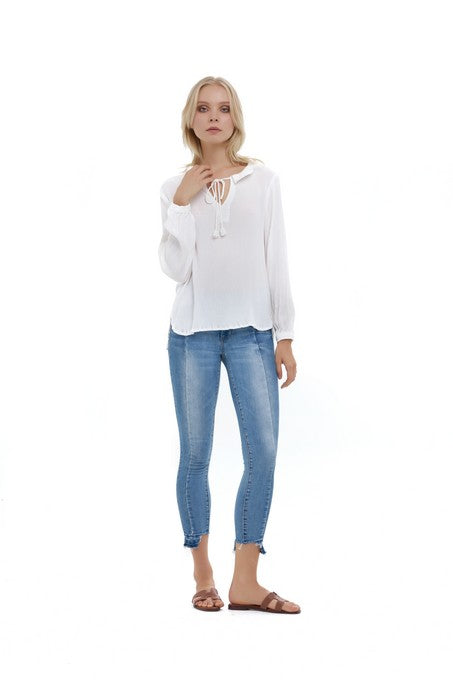 La Confection - Camile - Top in Rayon Krinkle White