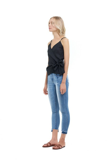 La Confection - Aspen - Wrap Top in Black Linen