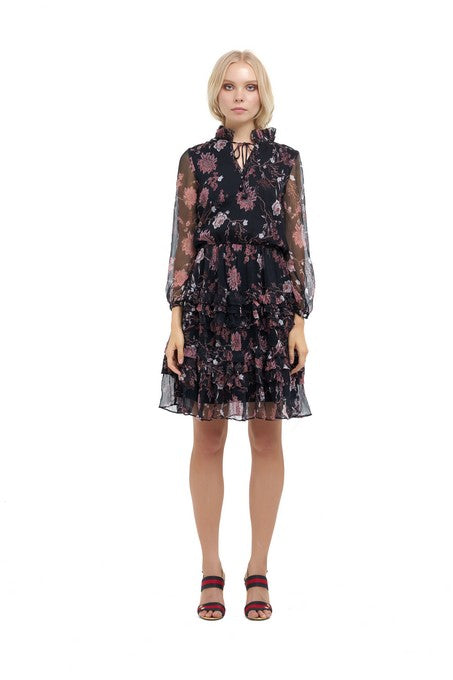 La Confection - Ames - Long sleeve ruffle skirt Dress In Chinoise Print Black