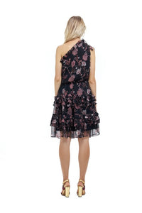 La Confection - Ames - One shoulder ruffle skirt dress in Chinoise Print Black