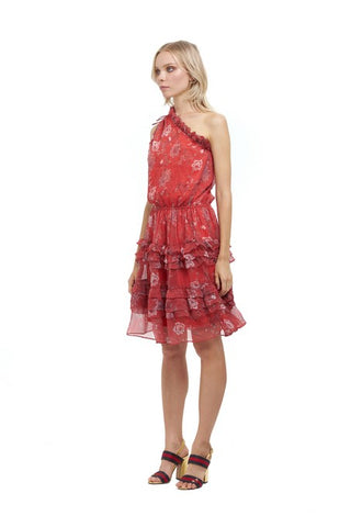 La Confection - Ames - One shoulder ruffle skirt dress in Chinoise Print Red