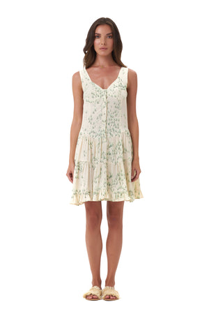La Confection - Dilone - Dress in Daisy Print Cream and Green Flower