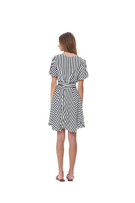 La Confection - Anouck - Micro Dress in Halette Stripe In Black and White
