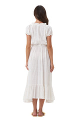 La Confection - Daisy - Midi Float Loose Ruffle Dress in Plain Natural