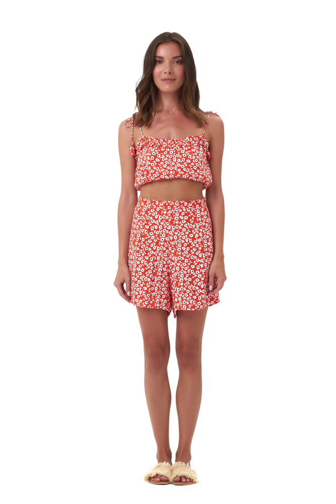 La Confection - Iman - Crop Top in Vintage Flower Red