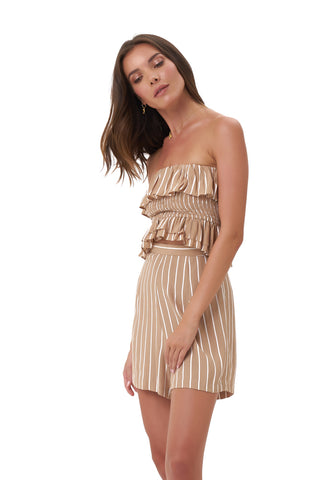 La Confection - Ravemont - Short in Stripe Tan and White