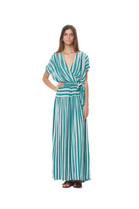 La Confection - Aia - Maxi Dress in Stripe Sea Green