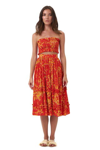 La Confection - Kaia - Crop Top Elastic Shirring in Daisy Flowers Red
