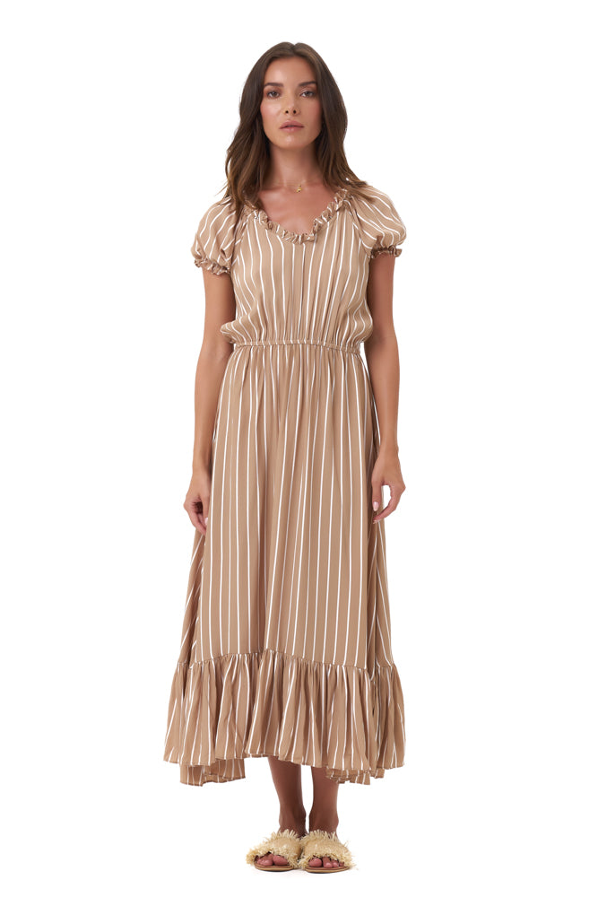 La Confection - Daisy - Midi Float Loose Ruffle Dress in Stripe Tan and White