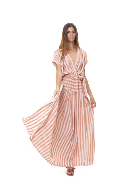 La Confection - Aia - Maxi Dress in Stripe Coral Sands