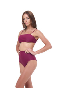 Storm Swimwear - Cannes - High Waist Bikini Bottom in Wine
