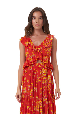 La Confection - Isla - Top in Daisy Flower Red