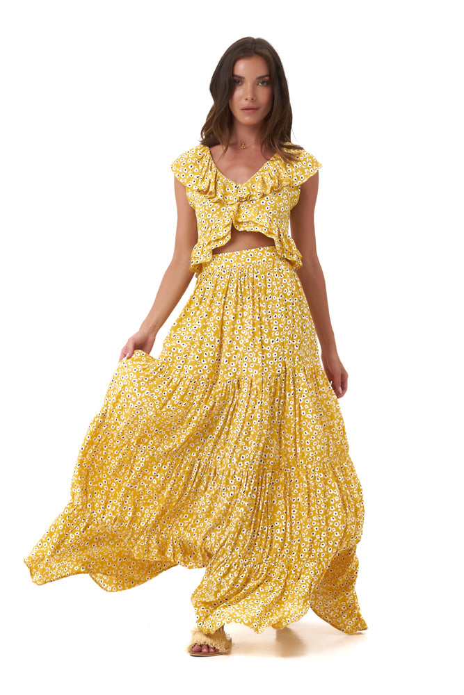 La Confection - Marine - Skirt in Vintage Flower Yellow