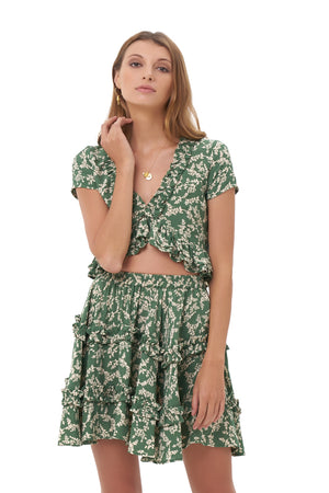 La Confection - Luma - V Neck Short Sleeved Ruffle Crop Top in Ivy in Dill and Birch