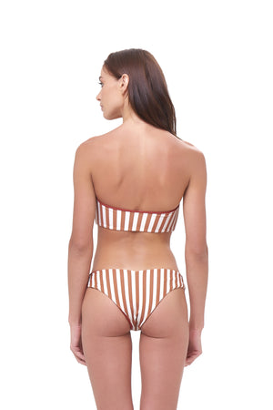 Storm Swimwear - Ravello - Plain Bandeu Bikini Top in Sunburnt Stripe Print