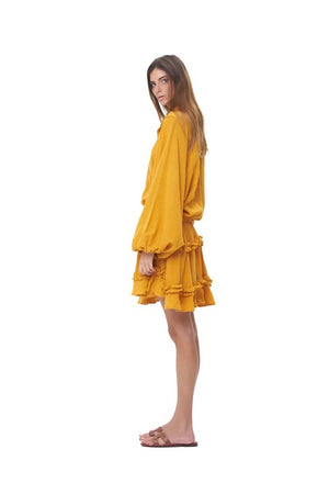 La Confection -Willow - Long Sleeve Citrus Linen Dress