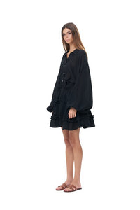 La Confection - Willow - Long Sleeve Black Linen Dress