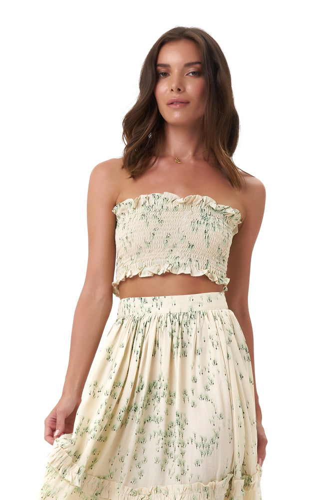 La Confection - Kaia - Crop Top Elastic Shirring in Daisy Flowers Bircher