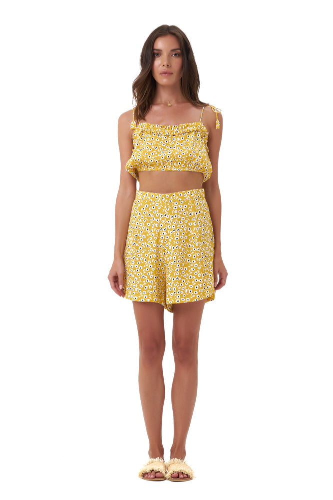 La Confection - Iman - Crop Top in Vintage Flower Yellow