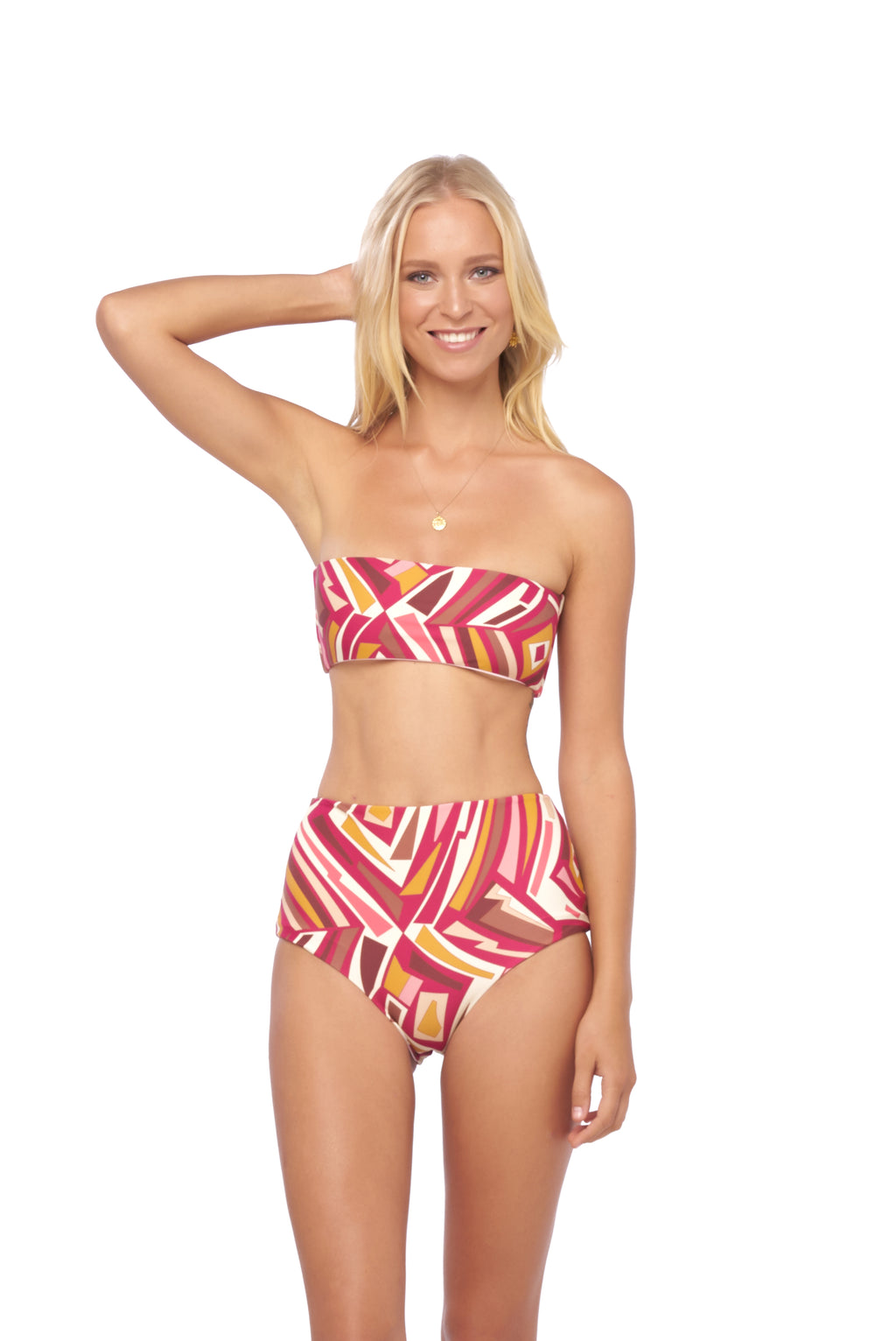 Storm Swimwear - Ravello - Plain Bandeu Bikini Top in Kaleidescope print