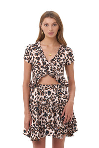 La Confection - Luma - V Neck Short Sleeved Ruffle Crop Top in Leopard Print