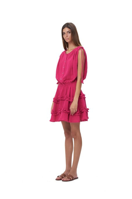 La Confection - Avery - Dress with Draw Sleeves Flared Ruffle Skirt in Plain Celosia