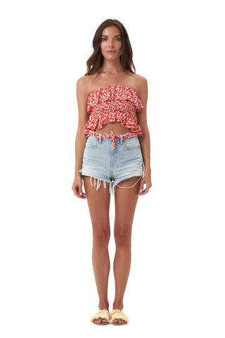 La Confection - Eadie - Crop Top in Vintage Flower Red