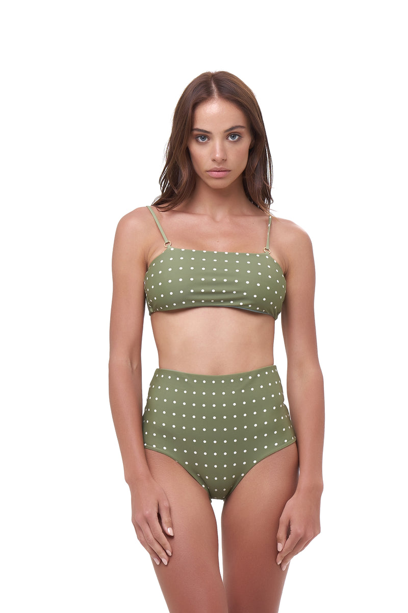 Storm Swimwear - Cannes - High Waist Bikini Bottom in Seagrass Polkadot