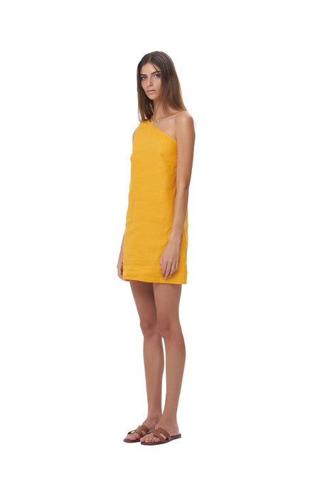 La Confection - Almira - One shoulder mini dress in Citrus Linen