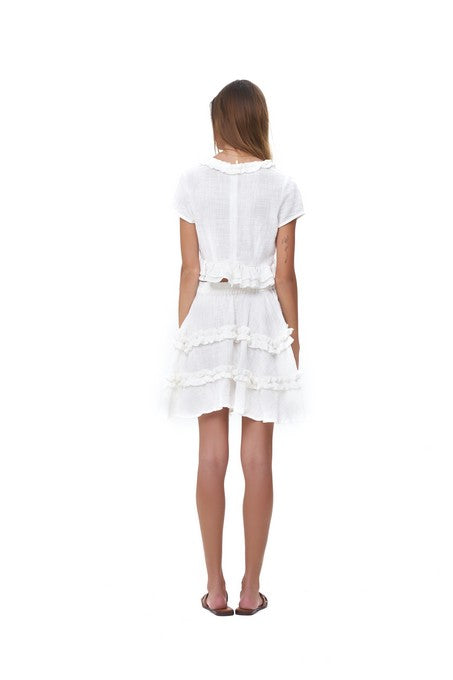 La Confection - Freja - Flared Mini Skirt in White Linen