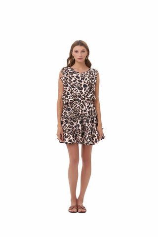 La Confection - Avery - Dress with Draw Sleeves Flared Ruffle Skirt in Leopard Print
