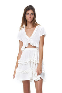 La Confection - Luma - V Neck Short Sleeved Ruffle Crop Top in White Linen