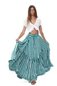 La Confection - Ines - Maxi tiered skirt in Stripe Sea Green