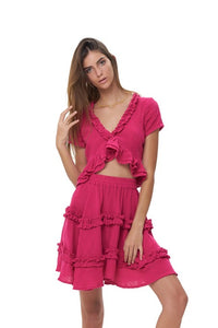 La Confection - Luma - V Neck Short Sleeved Ruffle Crop Top in Plain Celosia